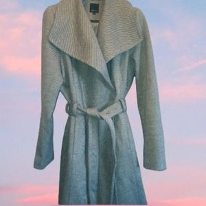 Reitmans Shawl Trench Coat Light Grey Belted XXL